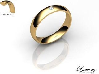 Women's Single Diamond 9ct. Yellow Gold 4mm. Court Wedding Ring-9YG1XRD-4CHL