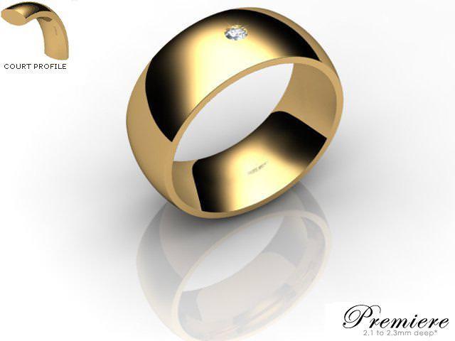 Men's Single Diamond 9ct. Yellow Gold 8mm. Court Wedding Ring