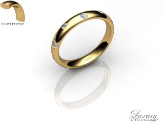 Men's Diamond Scatter 9ct. Yellow Gold 3mm. Court Wedding Ring-9YG25D-3CHG