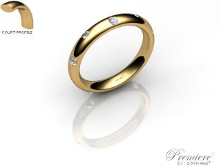 Men's Diamond Scatter 9ct. Yellow Gold 3mm. Court Wedding Ring-9YG25D-3CXG