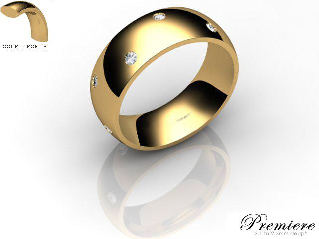 Men's Diamond Scatter 9ct. Yellow Gold 7mm. Court Wedding Ring