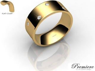 Men's Diamond Scatter 9ct. Yellow Gold 8mm. Flat-Court Wedding Ring-9YG25D-8FCXG