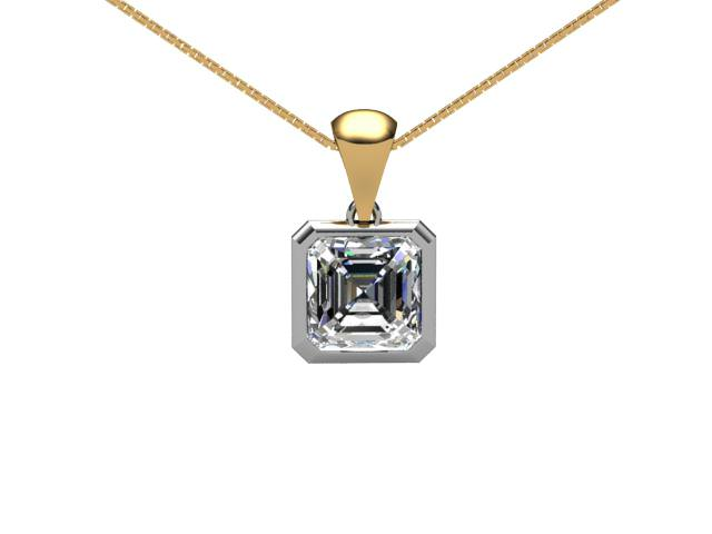 Certified Asscher-Cut Diamond Pendants