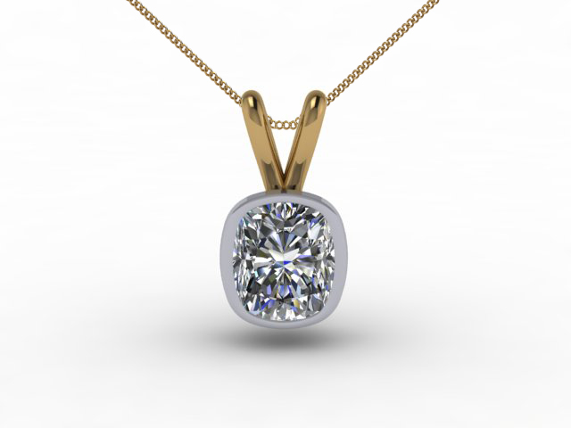 Certified Cushion-Cut Diamond Pendants