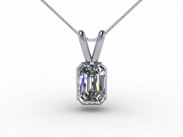Certified Emerald-Cut Diamond Pendants