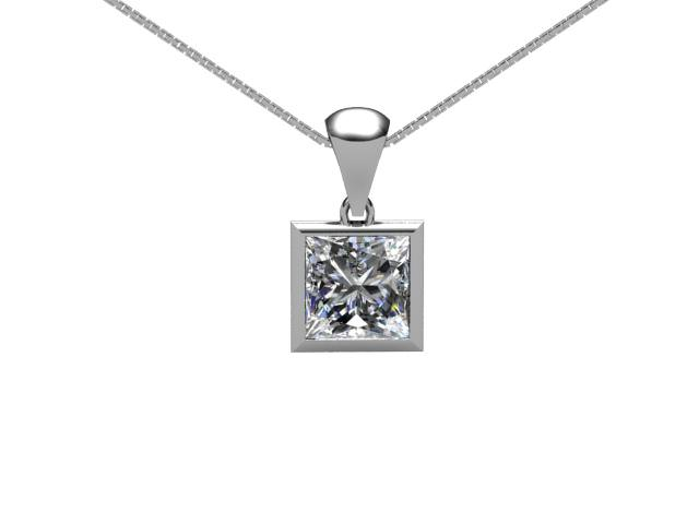 Certified Princess-Cut Diamond Pendants