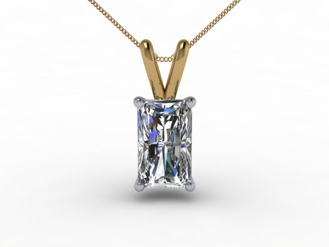 Certified Radiant-Cut Diamond Pendants