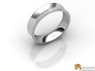 Men's Diamond 18ct. White Gold Concave Wedding Ring-D10005-0503-010G