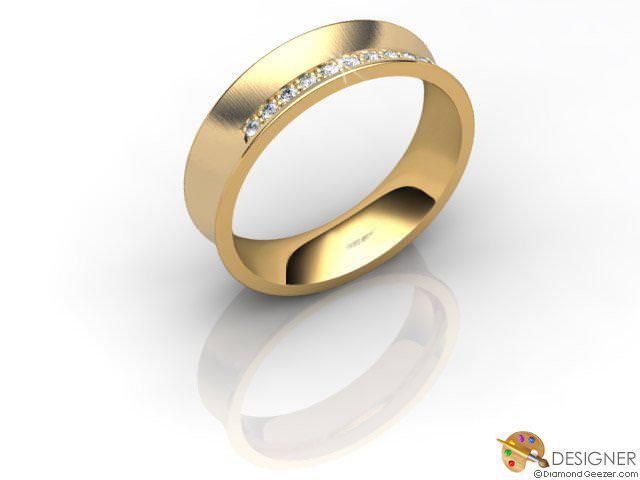 Men's Diamond 18ct. Yellow Gold Concave Wedding Ring