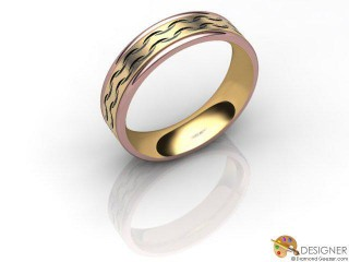 Men's Designer 18ct. Rose and Yellow Gold Court Wedding Ring-D10106-2501-000G