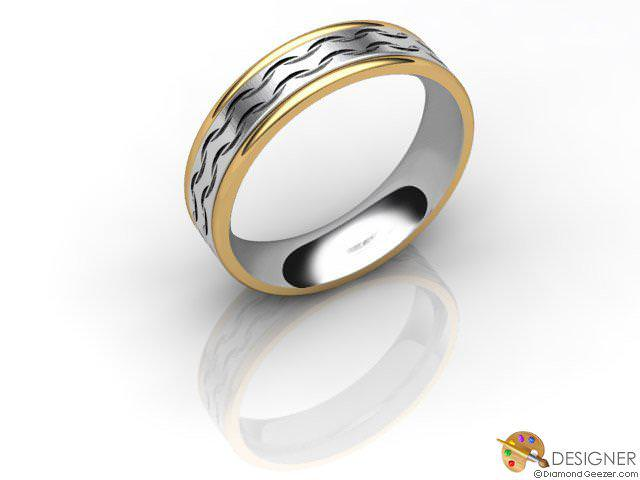Women's Designer 18ct. Yellow and White Gold Court Wedding Ring