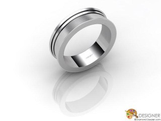 Men's Designer 18ct. White Gold Court Wedding Ring-D10118-0503-000G