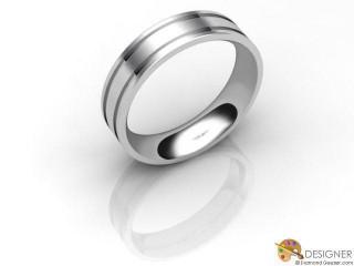 Women's Designer Platinum Flat-Court Wedding Ring-D10128-0103-000L