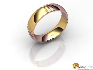 Men's Designer 18ct. Rose and Yellow Gold Court Wedding Ring-D10263-2501-000G