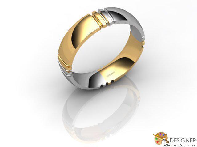 Men's Designer 18ct. Yellow and White Gold Court Wedding Ring