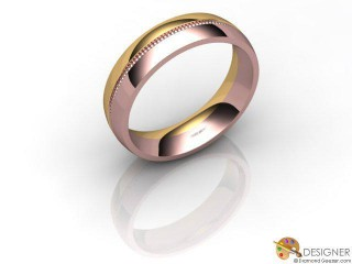 Men's Designer 18ct. Rose and Yellow Gold Court Wedding Ring-D10264-2501-000G