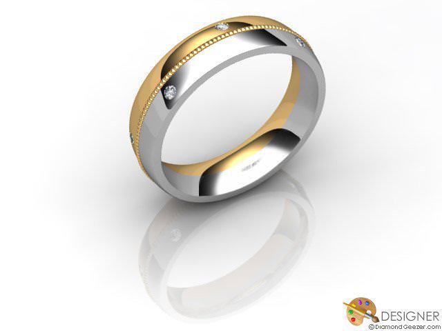 Men's Diamond 18ct. Yellow and White Gold Court Wedding Ring