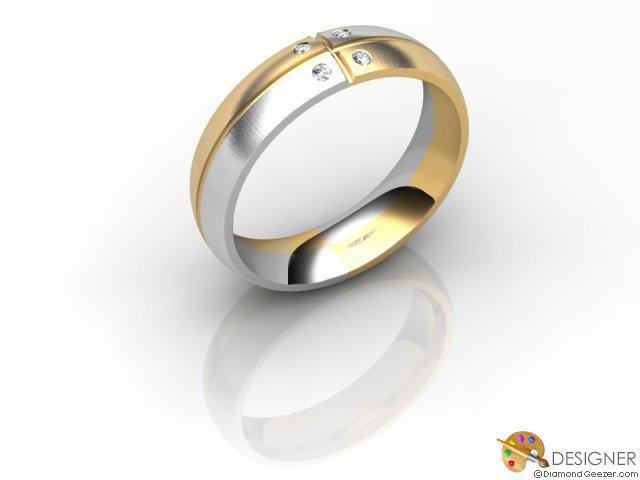 Men's Diamond 18ct. Yellow and White Gold Court Wedding Ring