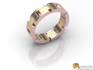 Men's Designer 18ct. Rose and Yellow Gold Court Wedding Ring-D10272-2503-000G