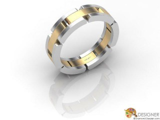 Men's Designer 18ct. Yellow and White Gold Court Wedding Ring-D10272-2803-000G