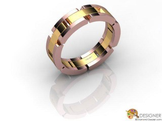 Men's Designer 18ct. Rose and Yellow Gold Court Wedding Ring-D10273-2501-000G