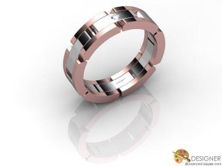 Men's Diamond 18ct. White and Rose Gold Court Wedding Ring-D10274-2401-001G