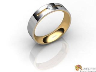 Men's Diamond 18ct. Yellow and White Gold Court Wedding Ring-D10282-2801-001G