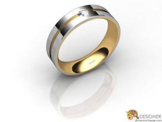 Men's Diamond 18ct. Yellow and White Gold Court Wedding Ring-D10283-2801-001G