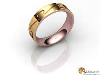 Men's Designer 18ct. Rose and Yellow Gold Court Wedding Ring-D10285-2501-000G