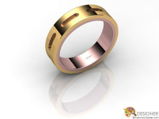 Men's Designer 18ct. Rose and Yellow Gold Court Wedding Ring-D10286-2501-000G