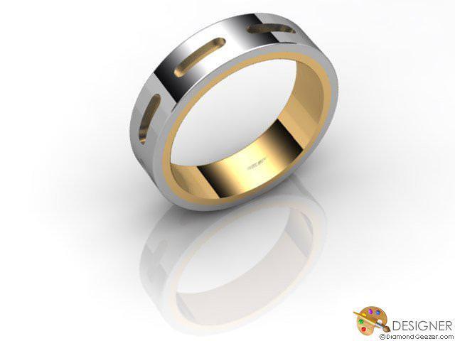 Women's Designer 18ct. Yellow and White Gold Court Wedding Ring