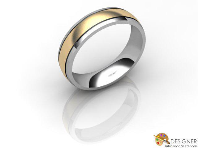 Men's Designer 18ct. Yellow and White Gold Court Wedding Ring