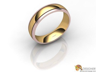 Men's Designer 18ct. Rose and Yellow Gold Court Wedding Ring-D10297-2501-000G
