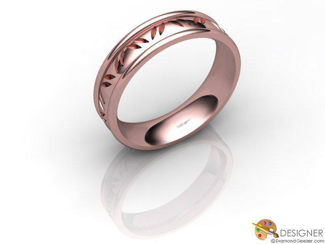 Men's Celtic Style 18ct. Rose Gold Court Wedding Ring