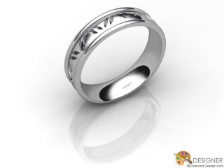 Men's Celtic Style 18ct. White Gold Court Wedding Ring-D10301-0501-000G