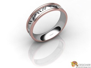 Women's Celtic Style 18ct. White and Rose Gold Court Wedding Ring-D10301-2401-000L