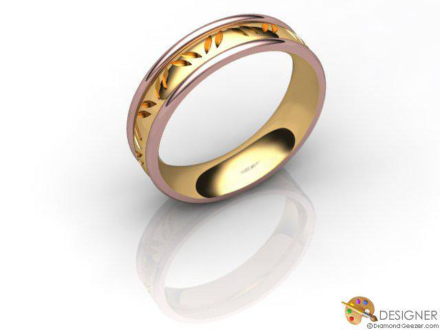 Men's Celtic Style 18ct. Rose and Yellow Gold Court Wedding Ring