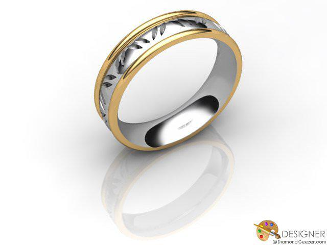 Men's Celtic Style 18ct. Yellow and White Gold Court Wedding Ring