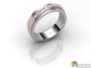 Men's Diamond 18ct. White and Rose Gold Court Wedding Ring-D10312-2401-010G
