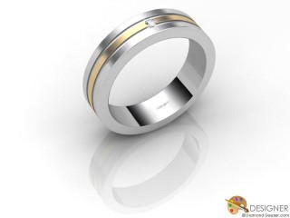 Men's Diamond 18ct. Yellow and White Gold Court Wedding Ring-D10317-2803-001G