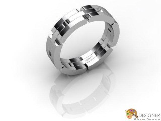Men's Designer 18ct. White Gold Court Wedding Ring-D10320-0501-000G