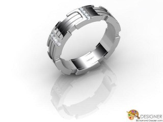 Men's Diamond Platinum Court Wedding Ring-D10359-0101-020G