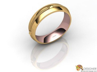 Men's Designer 18ct. Rose and Yellow Gold Court Wedding Ring-D10362-2501-000G