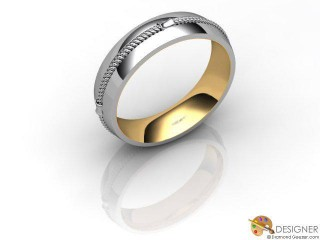 Men's Designer 18ct. Yellow and White Gold Court Wedding Ring-D10362-2801-000G