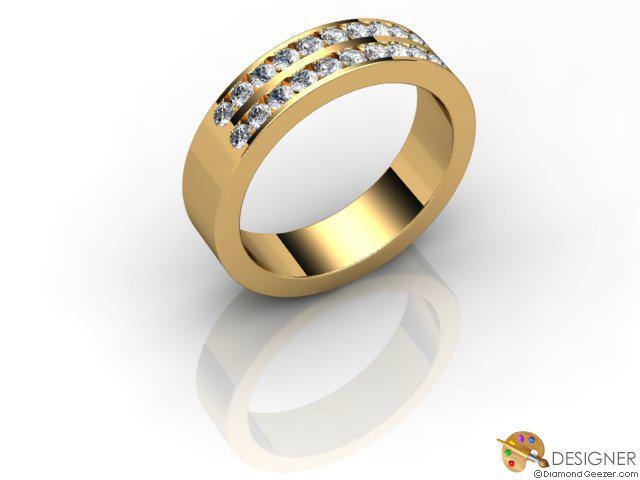 Men's Diamond 18ct. Yellow Gold Court Wedding Ring