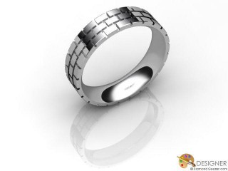 Men's Designer 18ct. White Gold Court Wedding Ring-D10379-0501-000G