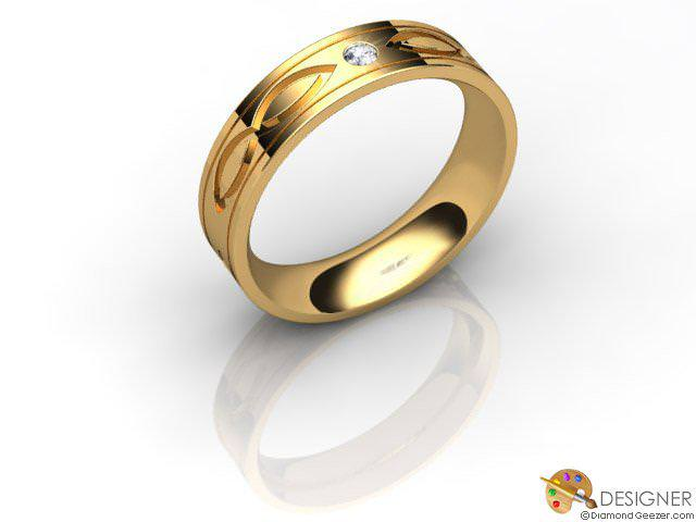 Women's Celtic Style 18ct. Yellow Gold Court Wedding Ring