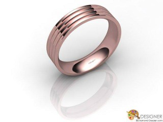 Men's Designer 18ct. Rose Gold Court Wedding Ring-D10385-0401-000G