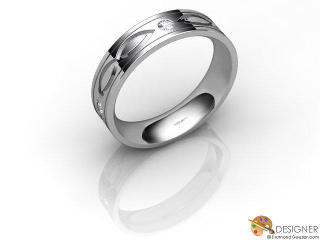 Women's Celtic Style Platinum Court Wedding Ring