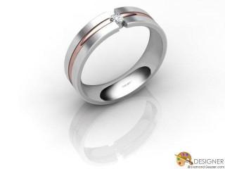 Men's Diamond 18ct. White and Rose Gold Court Wedding Ring-D10409-2401-001G